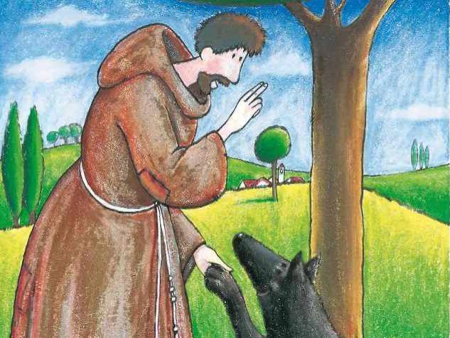 san francesco e il lupo, illustrazione di ValentinaSalmaso/ArchivioMsa