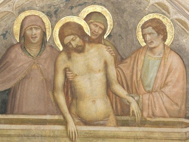 Altichiero da Zevio, «Gesù Cristo tra la Madonna e san Giovanni apostolo», affresco, 1374-78. Cappella San Giacomo, Basilica del Santo, Padova.