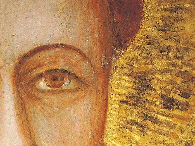 """""""Sant'Antonio di Padova con libro"""", particolare del volto, scuola giottesca, 1326, Basilica del Santo."""
