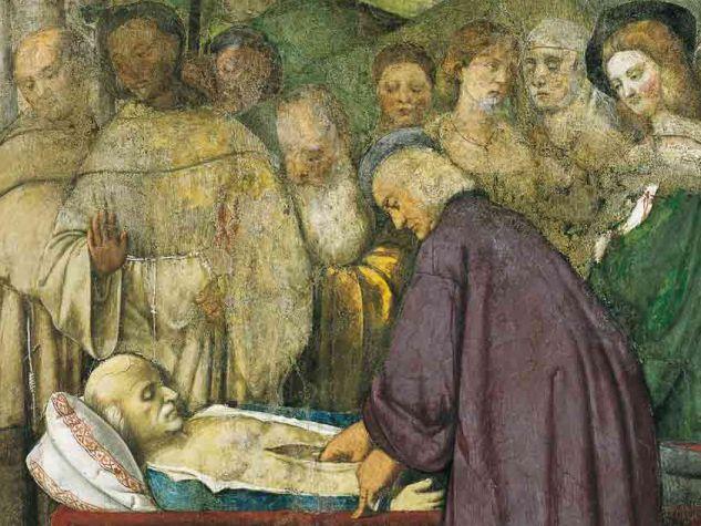 S. ANTONIO E IL CUORE DELL' AVARO, PARTICOLARE. AFFRESCO ATTRIBUITO A FRANCESCO VECELLIO, 1511 - 12. SCUOLA DEL SANTO O SCOLETTA, SALA ADUNANZE