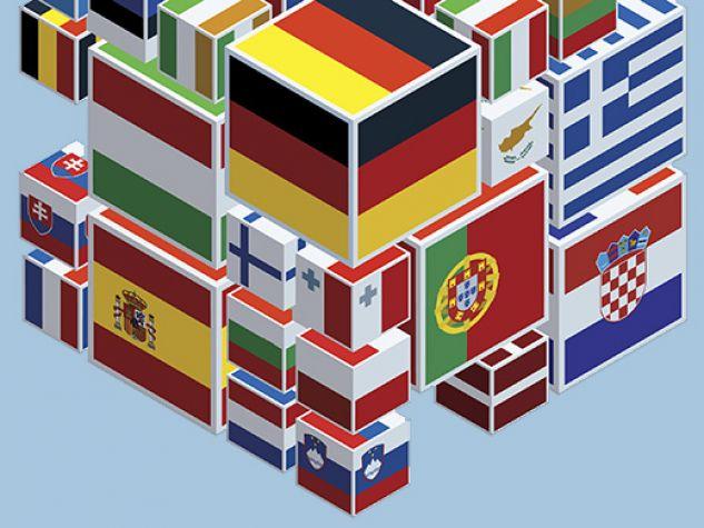 Cubo di Rubik irregolare, con bandiere delle nazioni europee