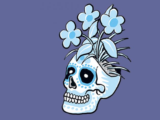 un teschio con un fiore