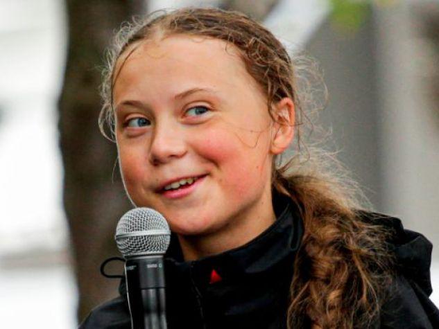 Un primo piano di Greta Thunberg