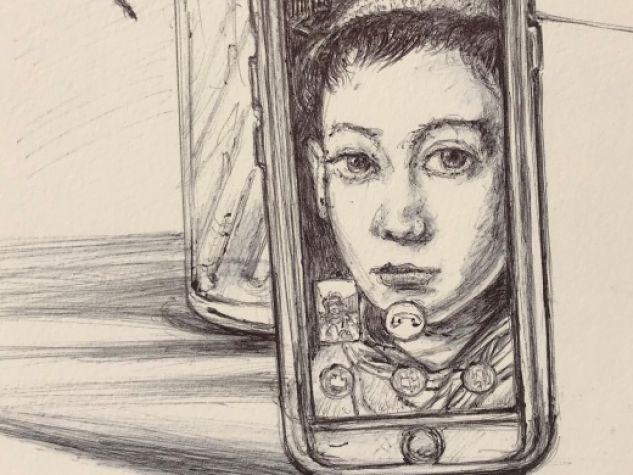 Marco Cirnigliaro, «Affectus: Antonio» (2020), penna a sfera su carta. Opera realizzata dall'autore per il «Messaggero di sant'Antonio».