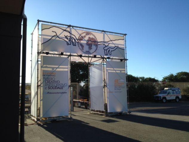 L'ingresso del Centro congressi della Fiera di Cagliari, dove si sta svolgendo la 48sima settimana sociale dei Cattolici italiani