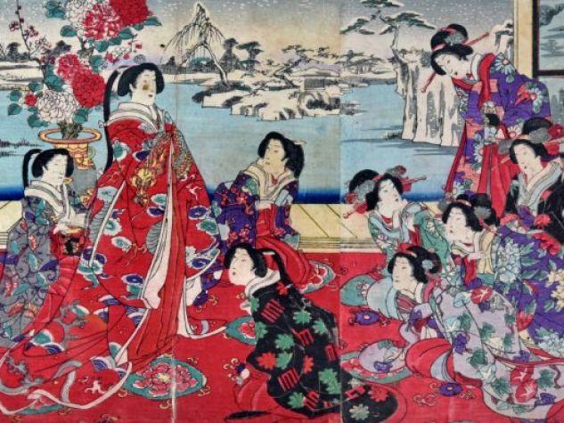Yoshu Chinkanobu (1838-1912), Passatempi di beltà femminili in un giorno nevoso, trittico di xilografie.