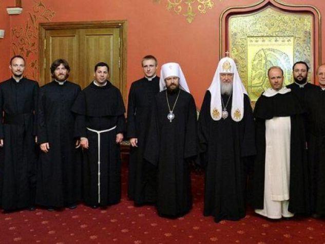 la delegazione cattolica a Mosca con il patriarca Kirill