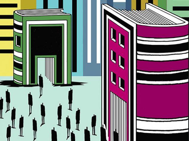 illustrazione, una città di libri