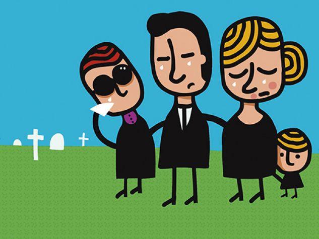 una famiglia al cimitero per un funerale
