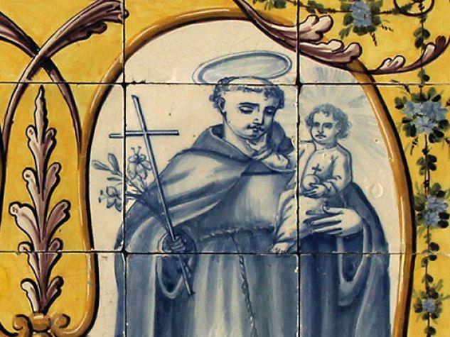 Piastrella portoghese raffigurante san Francesco e sant'Antonio.