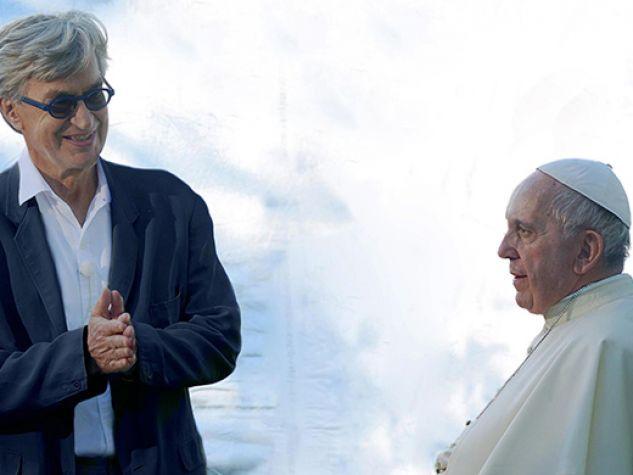 Papa Francesco e Wim Wenders nei giardini vaticani