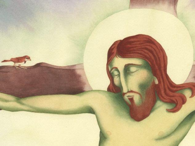 """Giovanni Manna, """"Il corpo di Cristo in croce"""", china e acquerello, in G. Clima, G. Manna, """"Ho visto un re passare""""."""