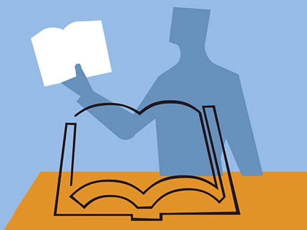 illustrazione: un uomo accanto a un pulpito