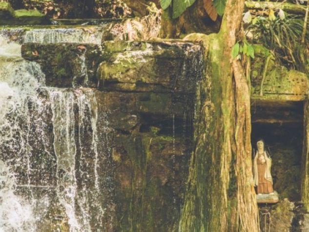 Una statua di santa Chiara nel mezzo della foresta tropicale.