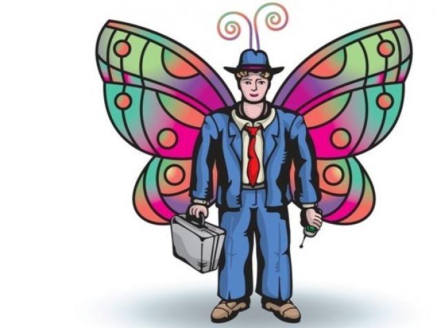businessman con ali da farfalla