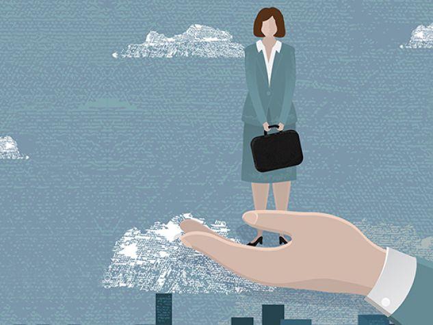 illustrazione: una donna viene riscatta dall'umiliazione