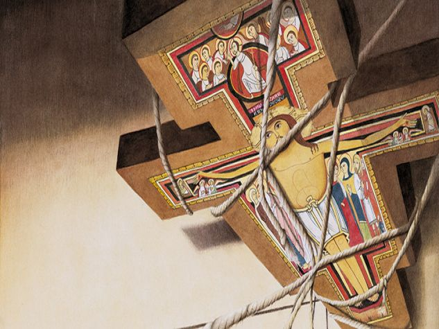 Illustrazione, riproduzione del crocifisso di san damiano