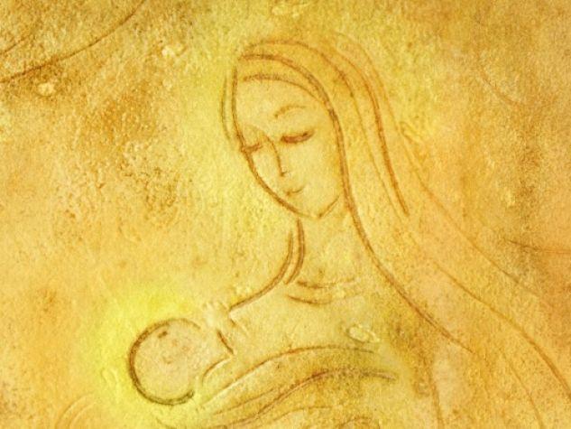 Maria e il bambino, ceramica