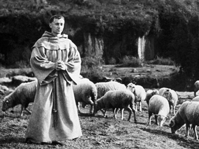 "Nazario Gerardi interpreta san Francesco in una scena del film ""Francesco giullare di Dio"" (1950)."