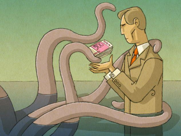 illustrazione, l'usura come una piovra offre contanti a un uomo