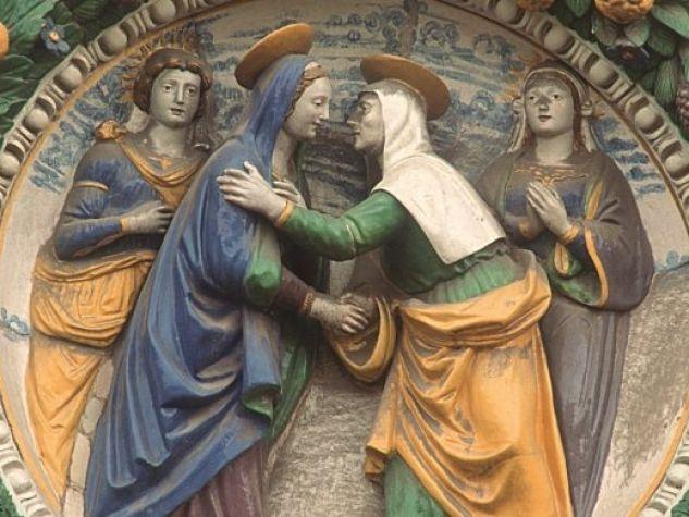 La visitazione di Maria ad Elisabetta, terracotta di Andrea Della Robbia, Pistoia