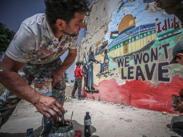 Idlib-Gerusalemme unite da un murales