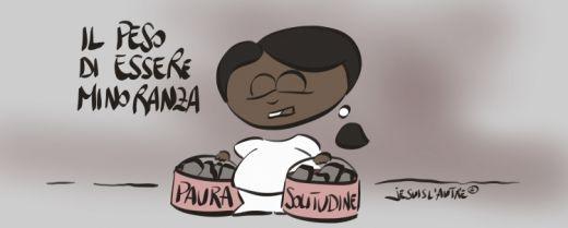 vignetta una donna in minoranza