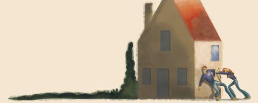 illustrazione: una coppia cerca di spostare la proprio casa spingendola