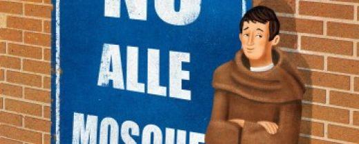 """Un frate nasconde con noncuranza la lettera """"E"""" di moschee in un cartellone pubblicitario"""