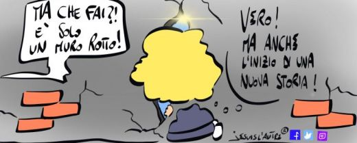 vignetta fessura di luce nel muro