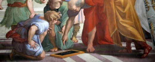 Particolare della Scuola di Atene, affresco, 1509-1511, Stanza della Segnatura, Musei Vaticani, Roma.