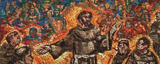 Mosaico con san Francesco e il capitolo delle stuoie