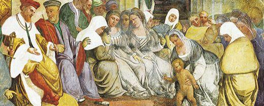 Sant'Antonio e il miracolo del neonato che attesta l'innocenza della madre. Girolamo Tessari, detto Dal Santo, sec. XVI, Santuario del Noce, Camposampiero (PD)
