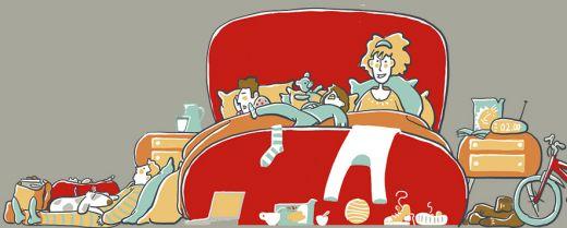 Illustrazione notte in famiglia