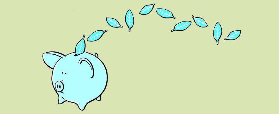 salvadanaio raccoglie foglie