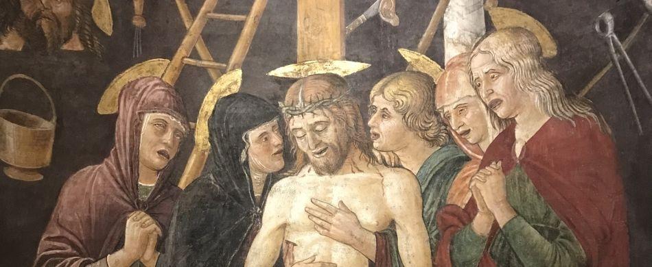 Un dettaglio dell'affresco «Il compianto del Cristo morto» (Cristo passo) di Jacopo Parisati da Montagnana.