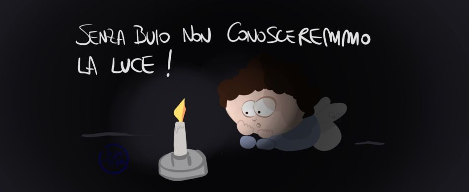 illustrazione di persona con candela