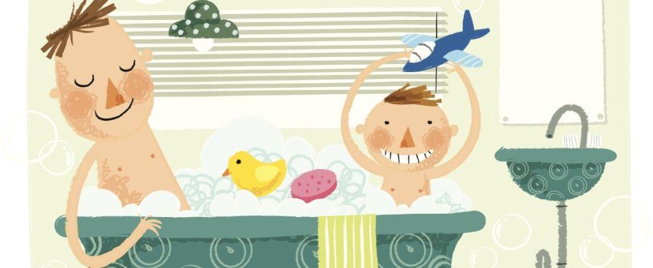 bagno bimbo e papà insieme