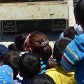Il furgone del Saint Anthony of Padua Social Center nel campo profughi di El Fayda. -