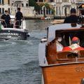 Il patriarca di Venezia mons. Francesco Moraglia in barca per portare la reliquia di sant'Antonio a Padova. -