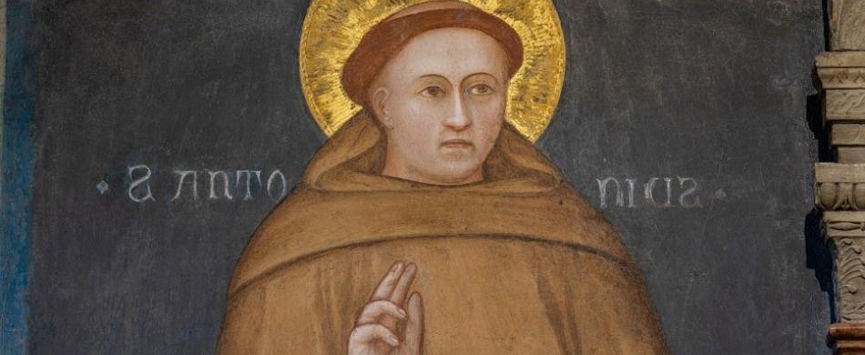 Anonimo di scuola giottesca, Sant'Antonio e due offerenti (particolare), secolo XIV (1326), Basilica di Sant'Antonio.