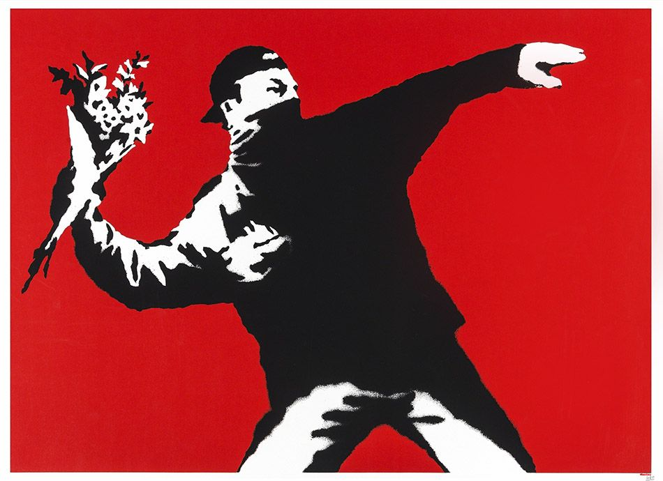 Love Is In the Air (Flower Thrower), 2003, limited edition screenprint, Butterfly Art News Collection