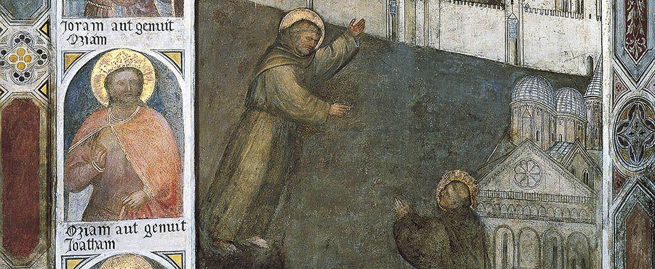 Sant'Antonio appare al beato Luca, particolare dell'affresco di Giusto de' Menabuoi (1382).