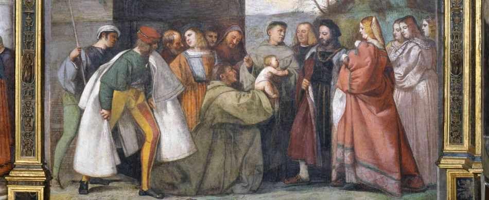 L'affresco di Tiziano Vecellio (Miracolo dell'infante che parla, 1511) conservato nella sala priorale della Scoletta del Santo, a Padova.