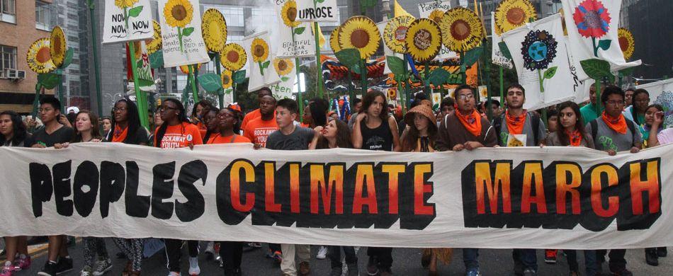 In occasione del Climate Summit 2014, oltre un milione di persone, in varie città del mondo, ha marciato per chiedere la difesa del clima e interventi contro il riscaldamento globale.  Foto: Nancy Siesel / DEMOTIX / CORBIS.