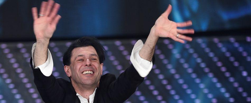 Ezio Bosso sul palco del Festival di Sanremo nel 2016.