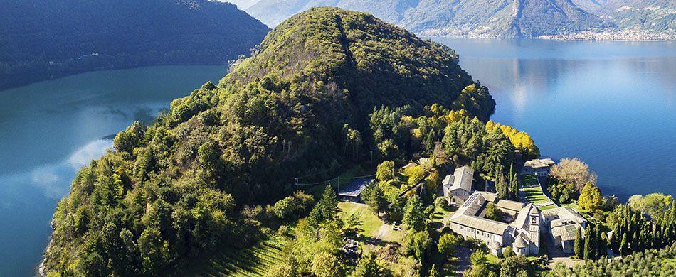 Abbazia cistercense di Santa Maria di Piona a Colico, sulla sponda lecchese del Lago di Como.
