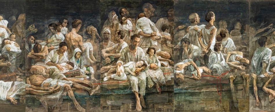 Safet Zec, la barca dal ciclo «Exodus», 2017-2019, tempera e collage su carta e tela, 1100x350 cm.