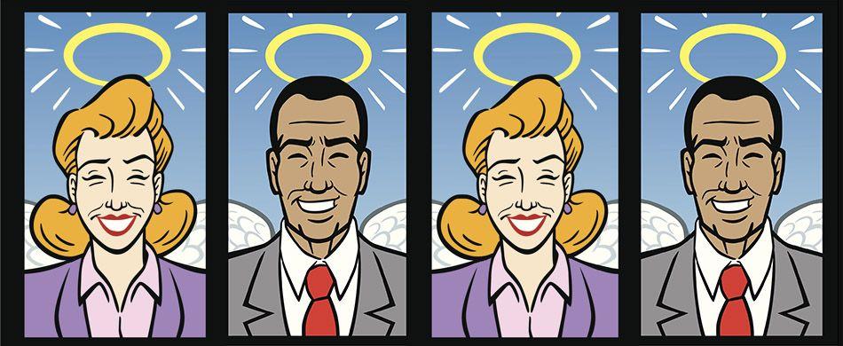 Una donna e un uomo al lavoro nelle vesti di angeli