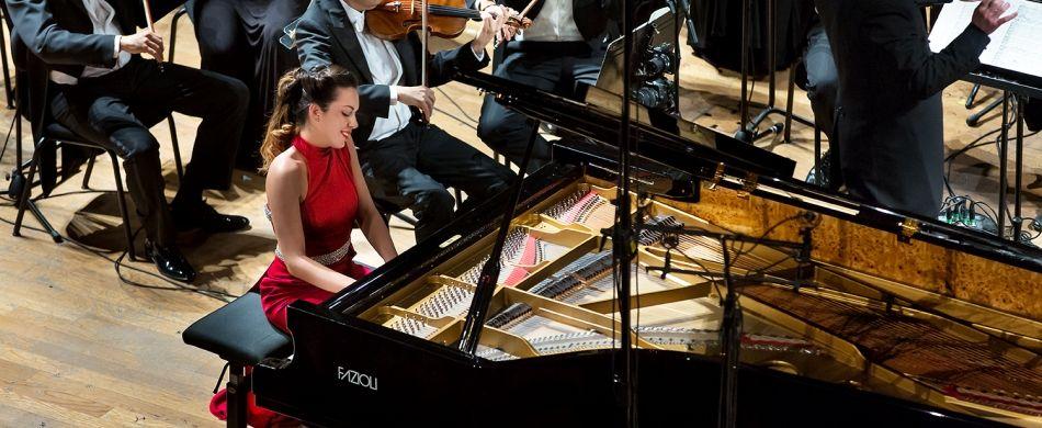 Gloria Campaner a «La Fenice», dove lo scorso ottobre si è esibita con la Filarmonica del teatro veneziano.
